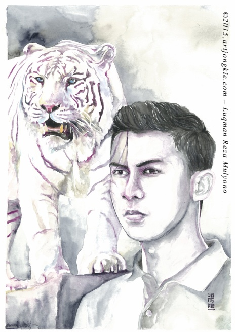 Chandra - The White Tiger Watercolor on paper size 29,7x42,0cm 300gsm