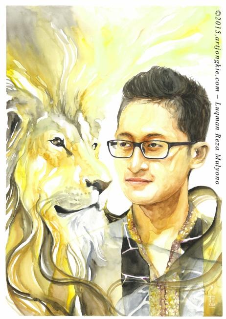 Dika - The Golden Lion Watercolor on paper size 29,7x42,0cm 300gsm