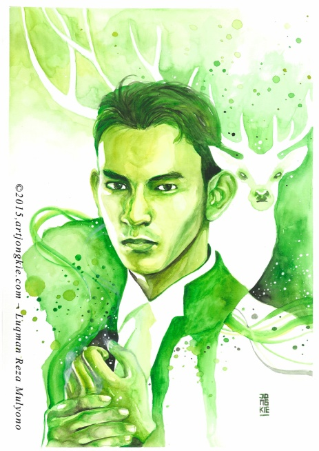 Ilham - The Green Stag Watercolor on paper size 29,7x42,0cm 300gsm