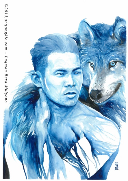 Jay - The Blue Wolf Watercolor on paper size 29,7x42,0cm 300gsm