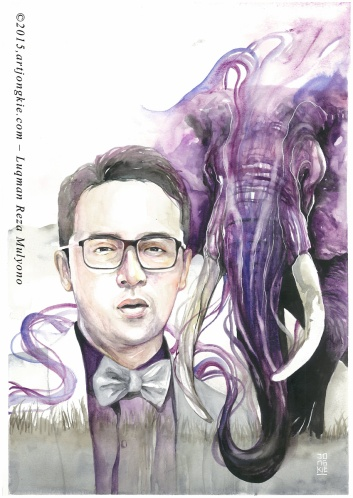 Deni - The Purple Elephant Watercolor on paper size 29,7x42,0cm 300gsm