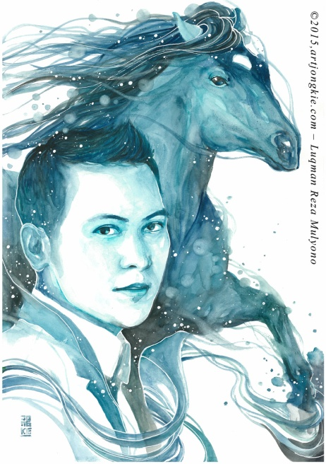 Hasby - The Cobalt Horse Watercolor on paper size 29,7x42,0cm 300gsm