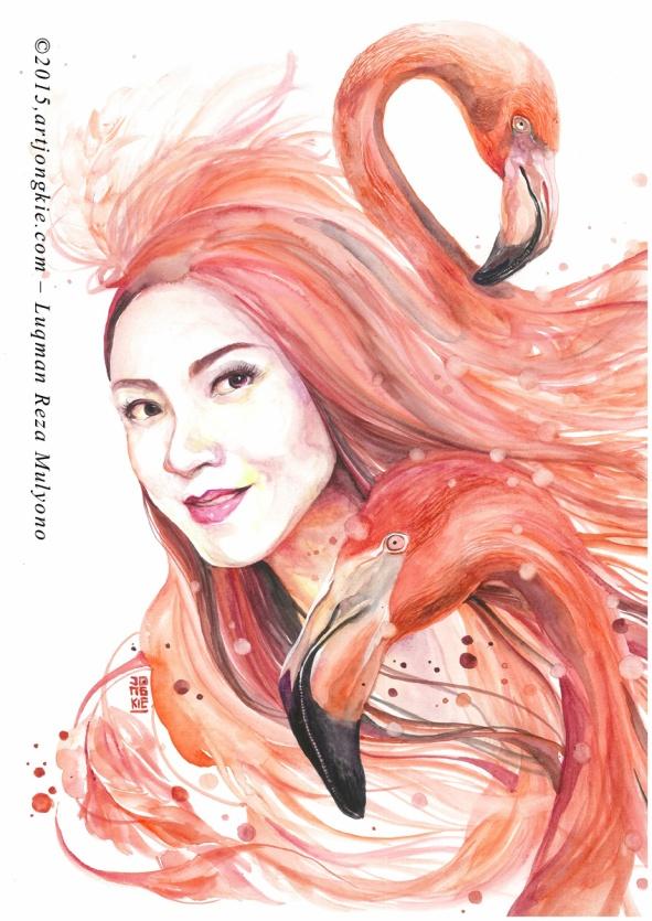Sara - The Vermilion Flamingo Watercolor on paper size 29,7x42,0cm 300gsm