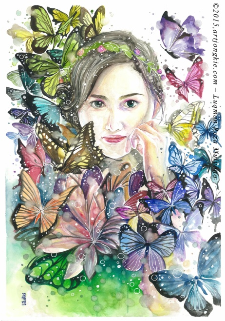 Sandra - The Rainbow Butterfly Watercolor on paper size 29,7x42,0cm 300gsm