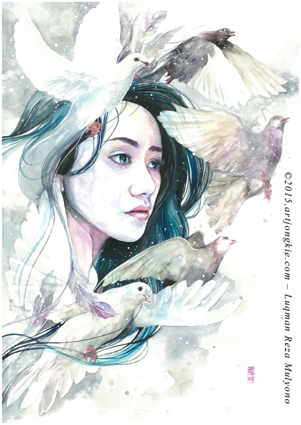 Hendita - The White Dove Watercolor on paper size 29,7x42,0cm 300gsm