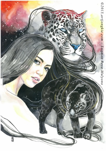 Mita - The Black Panther Watercolor on paper size 29,7x42,0cm 300gsm