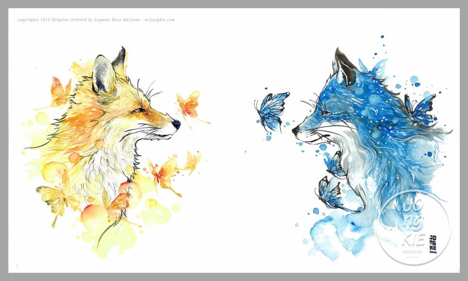 Red Fox & Blue Fox by Jongkie